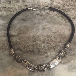 Brighton leather rope necklace with silver